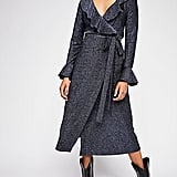 One More Time Lurex Wrap Dress