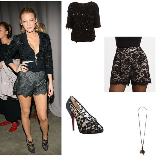 Get Blake Lively Marchesa Spring 2011 Show Black Lace Short and Heels Outfit