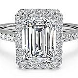 Ritani Emerald Cut French-Set Halo Diamond Band Engagement Ring