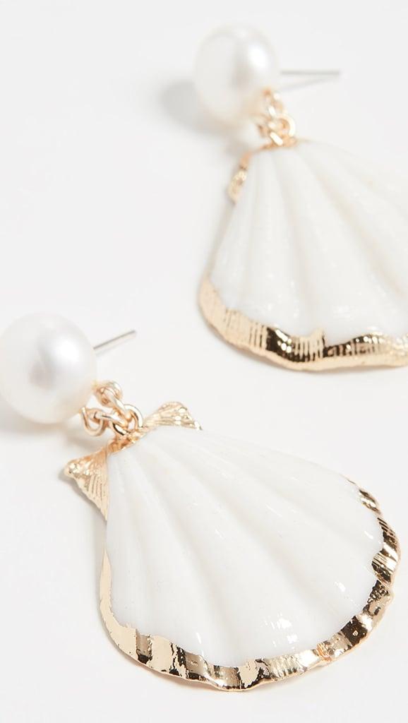 Ariel: Mercedes Salazar Pearl Stud Shell Drop Earrings