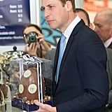 William looked a little confused when he received a giant egg during a stop in Sydney on April 18.