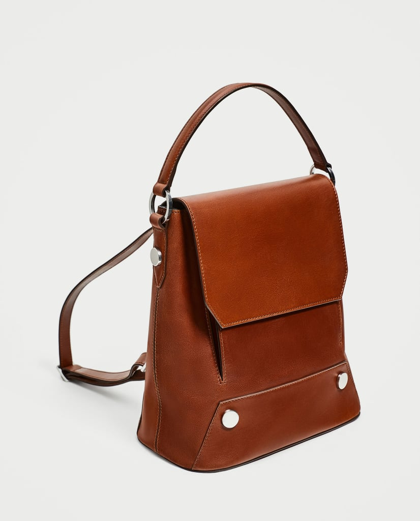 Zara Leather Backpack With Buttons