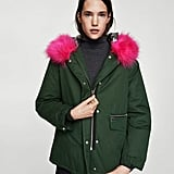 This Mango Contrast Hooded Parka ($130) has a detachable hot pink faux fur collar for when you're feeling fancy.