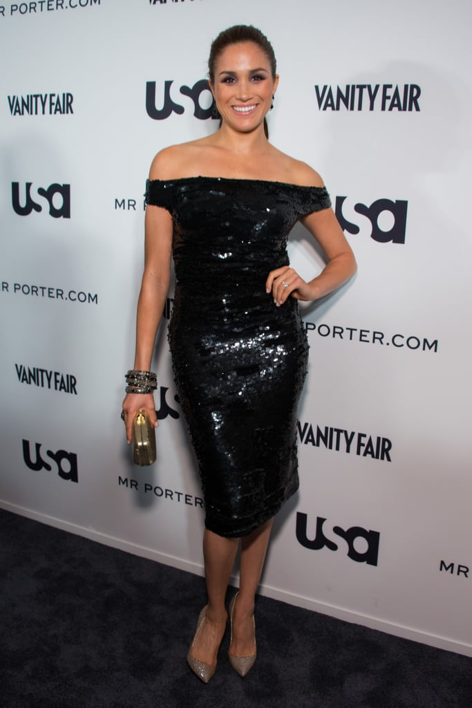 In June 2012, the former actress wore an off-the-shoulder sequined midi dress.