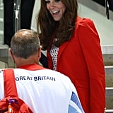 Kate went totally dotty in her black and white top at the swimming.