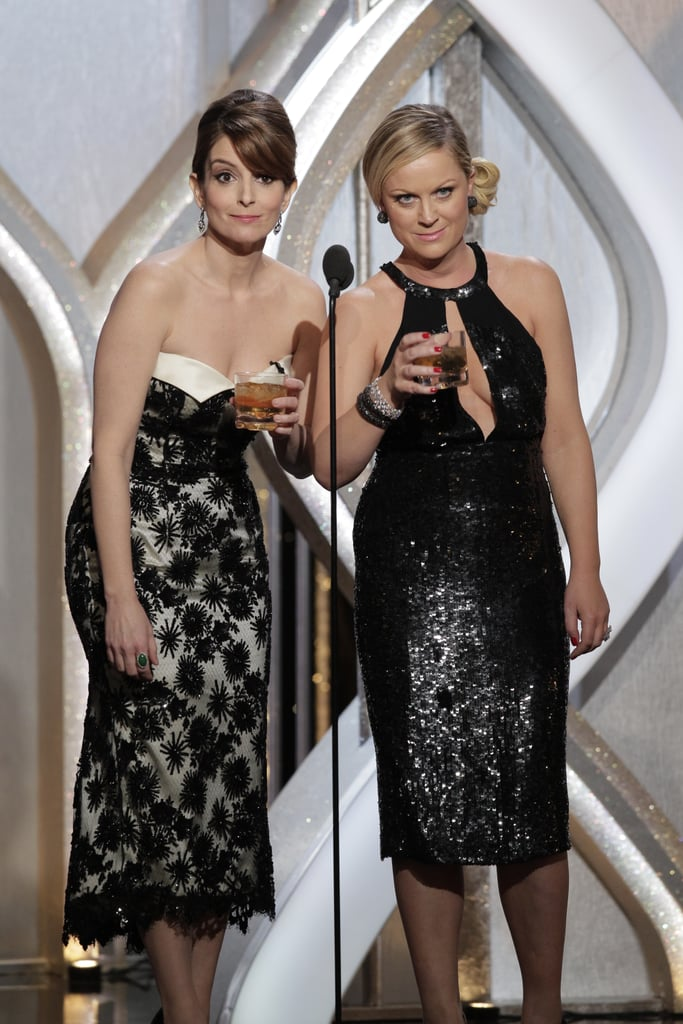 Tina Fey and Amy Poehler pretended to be drunk after they lost the Globe for best actress in a TV show, comedy or musical, to Lena Dunham.