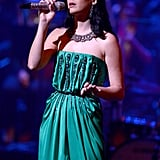 Katy Perry wore a green Yves Saint Laurent dress.