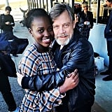 """I found #LukeSkywalker! And I held onto him tight! #Thunder was a little star struck, as you can see. #MarkHamill is the warmest jedi that ever did live. @starwars #theforceawakens #travelflex"""