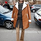 If Your Lightweight Layer Buckles Up, Top Off Your Winter Look With an Open Shearling Coat