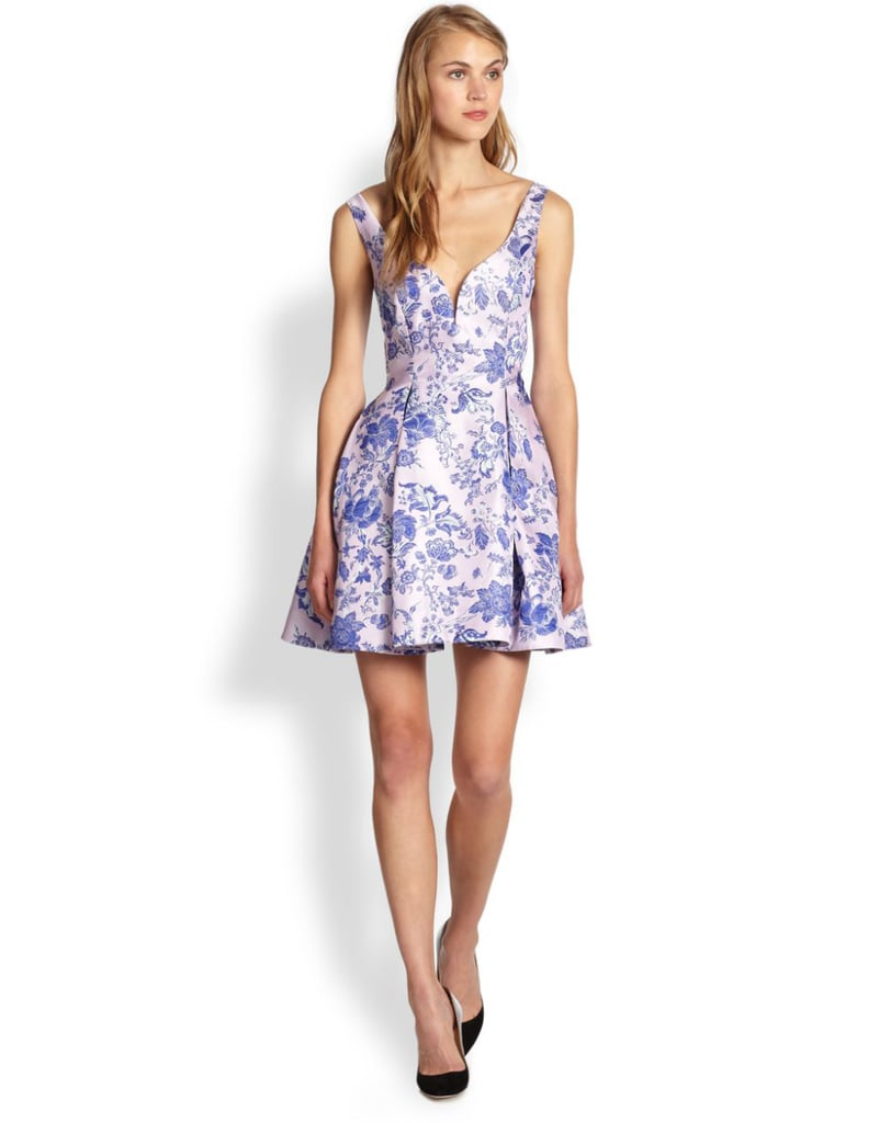 Zimmermann purple brocade 50s-inspired sweetheart-neckline dress ($575)