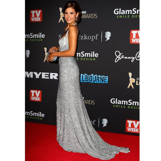 Pictures of Lauren Phillips on the 2012 Logies Red Carpet in Silver Sequinned Jayson Brunsdon Gown: Rate It or Hate It?
