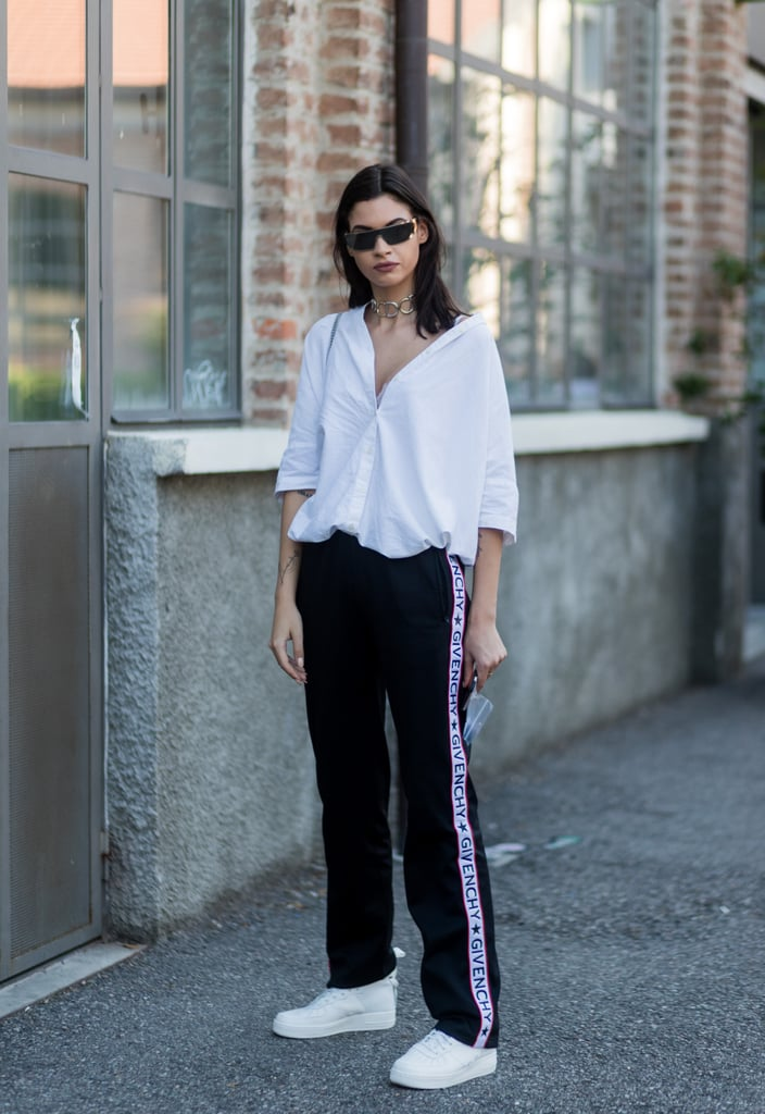 Tucked and Billowing Over Jogging Bottoms