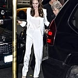Angelina Jolie looked lovely in an all white suit.