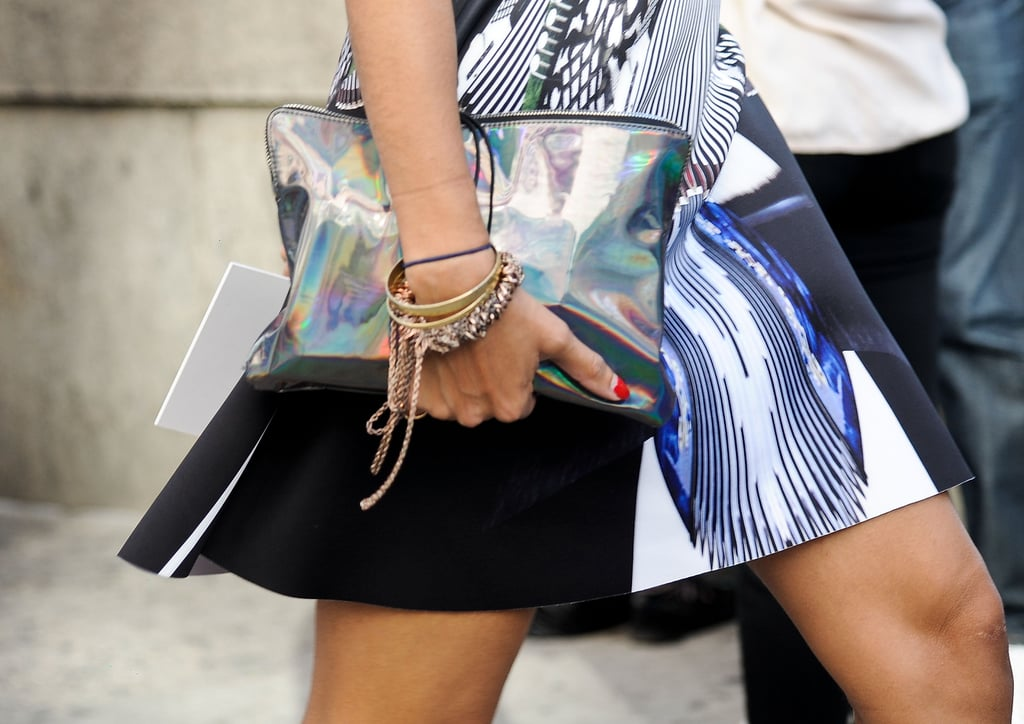 What do you wear with a Clover Canyon dress? A holographic clutch, of course.