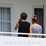 Miley Cyrus and her friend Cheyne Thomas relaxed on the balcony of her Miami hotel room.