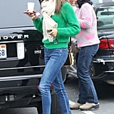 Alessandra Ambrosio's bright green Michael Kors sweater was the perfect companion to her skinny jeans and Rag & Bone booties in LA. Get the same effect on March 17 by matching your green sweater with your favorite denim and tan shoes.