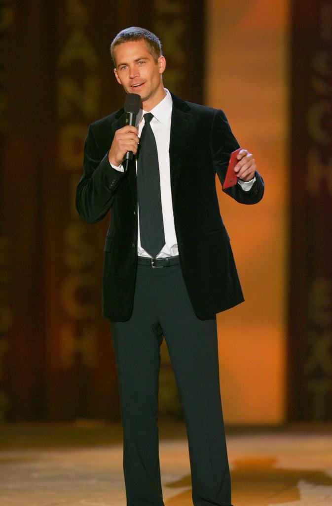 Paul Walker spoke onstage during the Taurus World Stunt Awards in LA in September 2005.