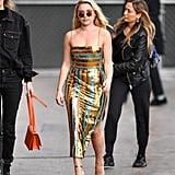 Florence Pugh's Striped Sequin Dress on Jimmy Kimmel Live