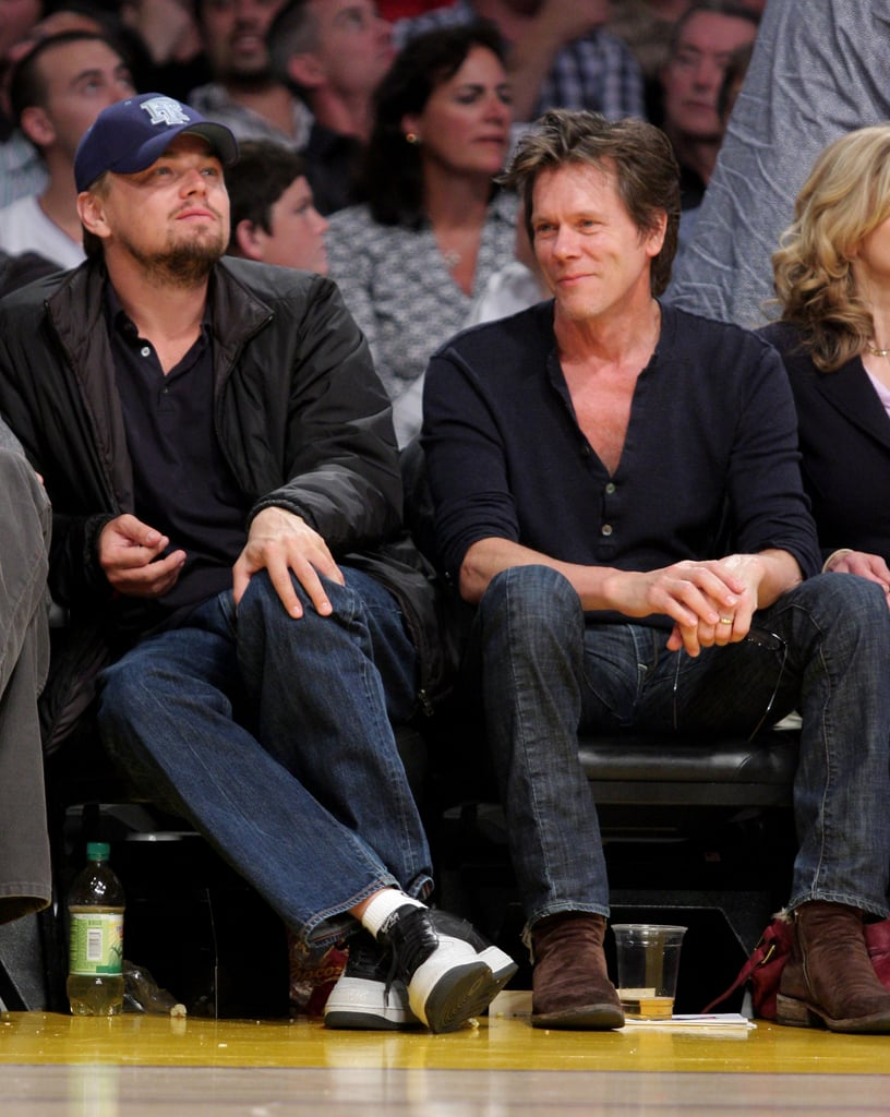 Leonardo DiCaprio sat courtside with Kevin Bacon for a Lakers playoff game in May 2009.