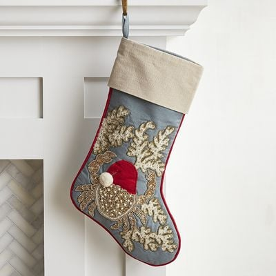 Santa Crab Beaded Stocking ($30)