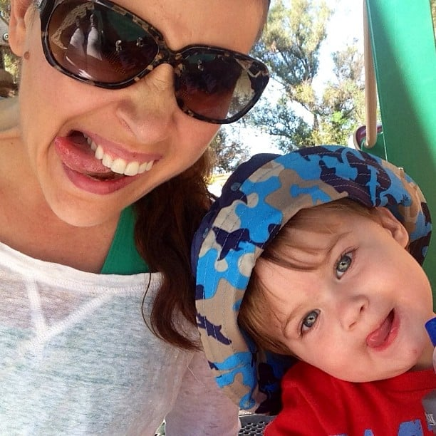 Alyssa Milano had fun making silly faces with Milo. Source: Instagram user milano_alyssa