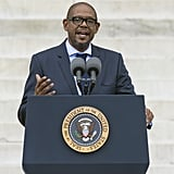 Forest Whitaker spoke to the crowd at the Lincoln Memorial.