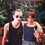 Alexa Chung showed off a Summer-perfect topknot while posing with a pal. Source: Instagram user chungalexa