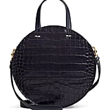 Clare V. Petit Alistair Croc Embossed Leather Circular Crossbody Bag
