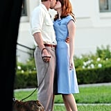 Ryan Gosling and Emma Stone enjoyed a sunset kiss on the set of The Gangster Squad.