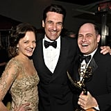 Elisabeth Moss and Jon Hamm laughed with Mad Men creator and executive producer Matthew Weiner at the AMC Emmy afterparty.