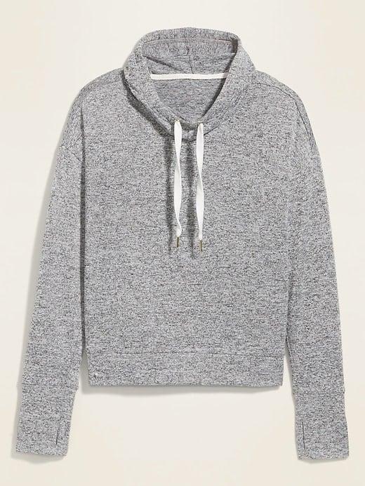 Loose Sweater-Knit Pullover Crop Hoodie