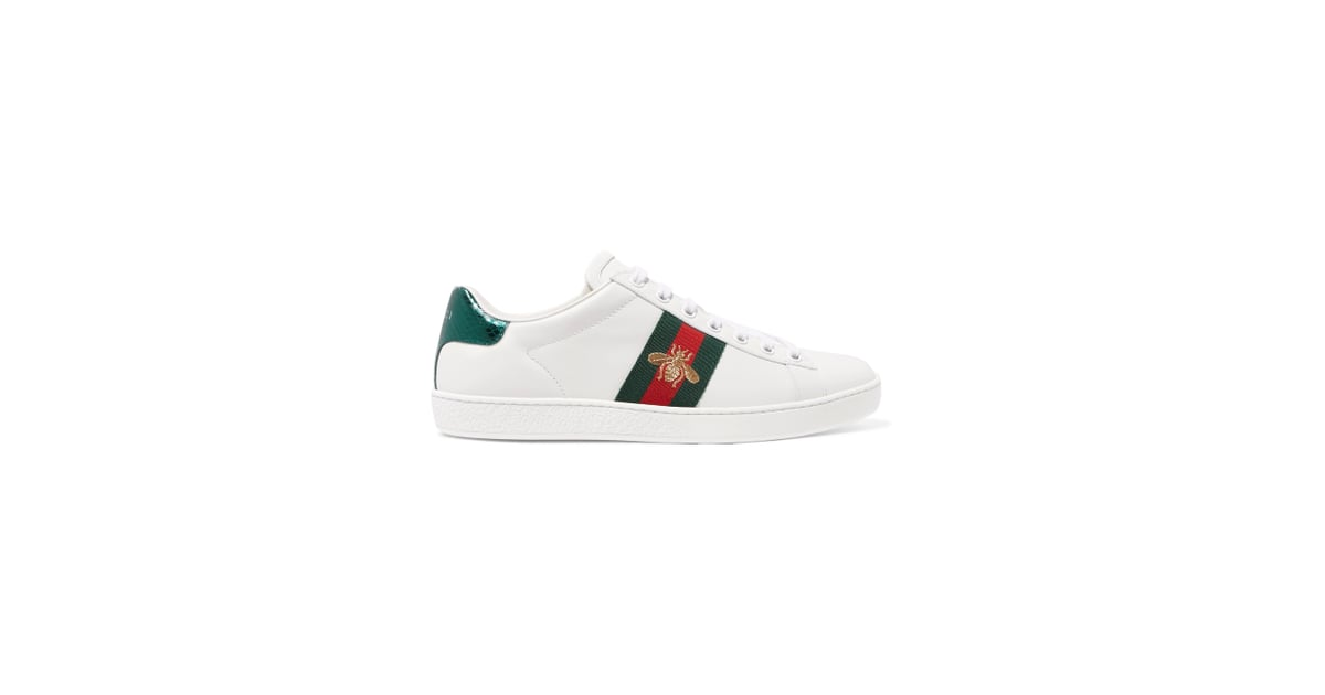 e24f5e6bba2 Gucci Ace Watersnake-trimmed Embroidered Leather Sneakers - White ...