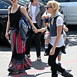 Gwen Stefani hangs out with her boys on a casual afternoon in LA.