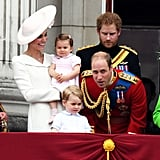 Prince William conspired with his son, Prince George, at Trooping the Colour in June.