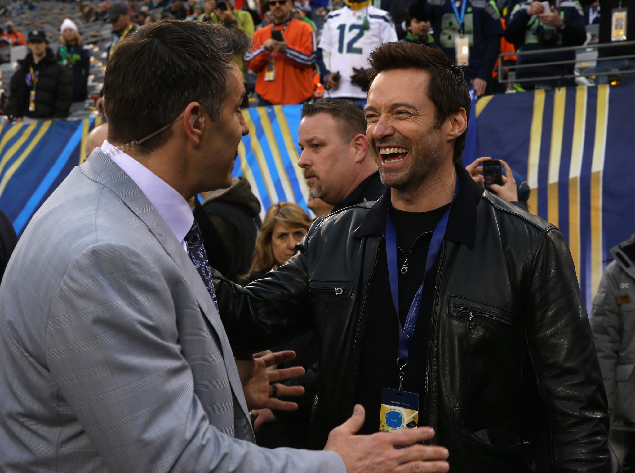 Hugh Jackman laughed on the field during the preshow.