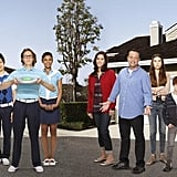 Jami Gertz, Lenny Venito, Simon Templeman, Toks Olagundoye, Clara Mamet, Tim Jo, Ian Patrick, Max Charles, and Isabella Cramp on The Neighbors. Photo copyright 2012 ABC, Inc.