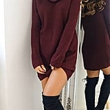 Pinksee Cowl-Neck Sweater Dress