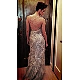 Emmy Rossum showed off the sexy backside of her Donna Karan Atelier gown. Source: Instagram user emmyrossum