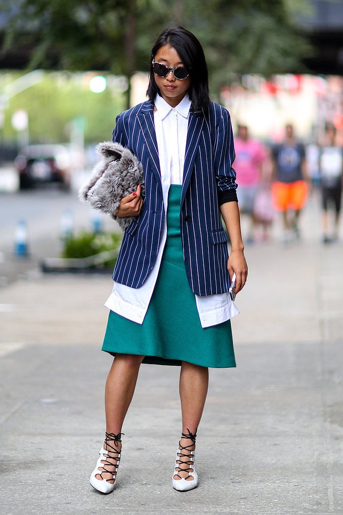 Margaret Zhang's outfit is a study in unexpected colors, textures, and proportions.
