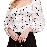 Astr the Label Shirred Long-Sleeved Top