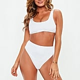 Missguided White Ribbed Sports Style Bikini