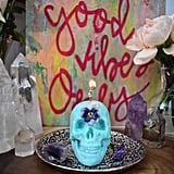 Crystal and Herb Infused Skull Candle