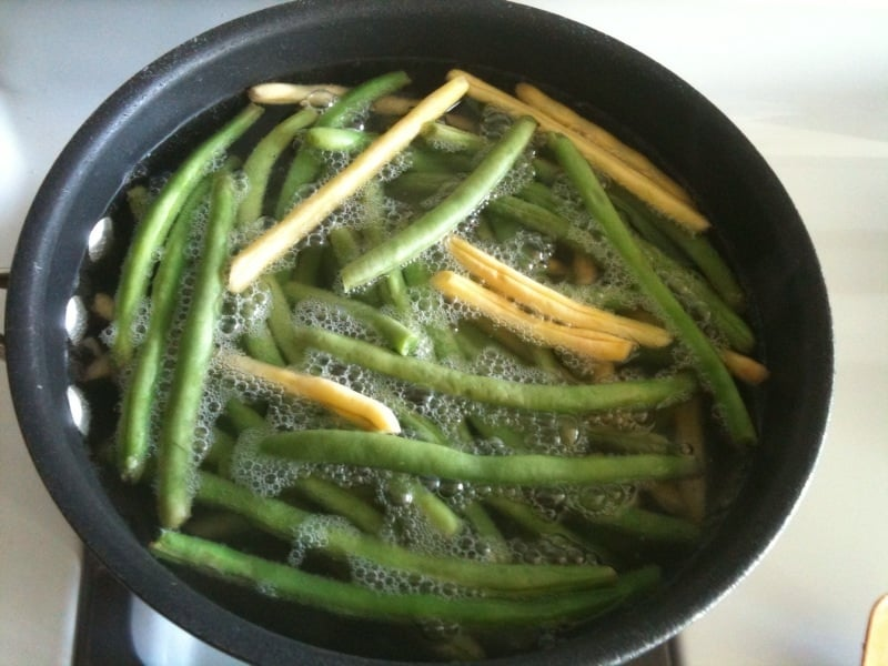 Blanching the Green Beans
