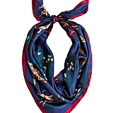 Joules Clarence Classic Silk Scarf Navy Horse & Hound