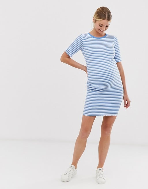 New Look Maternity striped rib jersey dress in blue pattern | ASOS