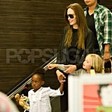 Angelina Jolie at LAX with Shiloh Jolie-Pitt and Zahara Jolie-Pitt.