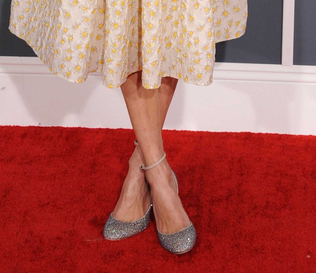 We love how Alexa Chung's glittery ankle-strap pumps lent major sparkle to her floral retro dress.
