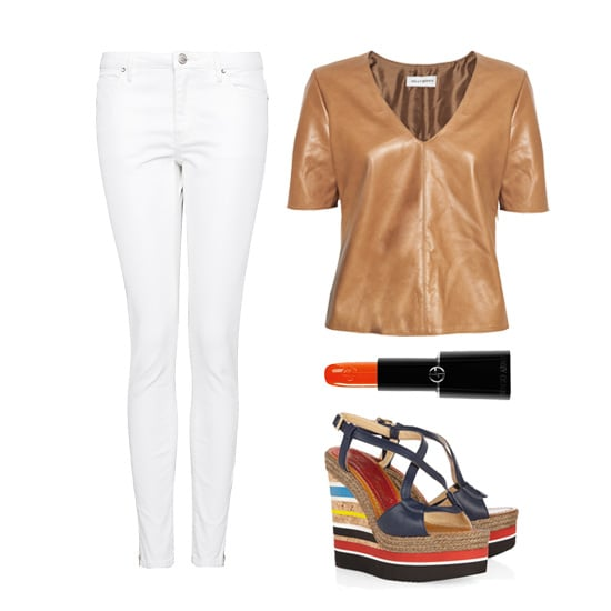How's this for an attention-getting daytime look? Pair your caramel-colored Spring leather top with a pair of crisp white skinny jeans, then add striped wedges and a sweep of bold tangerine lipstick.  Mango Super Slim Fit Cropped Jeans ($55), Kelly Bergin Leather Top ($495), Armani Beauty Rouge Sheer d'Armani Lipstick in Acid Tangerine ($30),  Paloma Barceló Formentera Leather Wedge Sandals ($245)