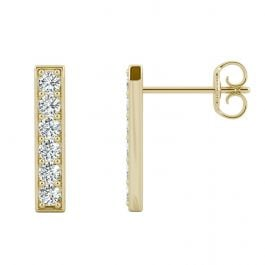Moissanite Vertical Bar Stud Earrings 0.48CTW in 14K Yellow Gold
