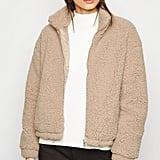 New Look Camel High Neck Teddy Jacket
